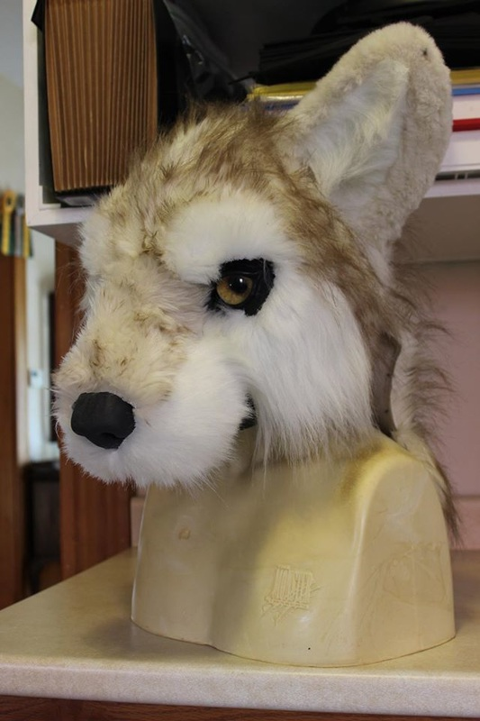 fur partially sewn together for fursuit wolf head