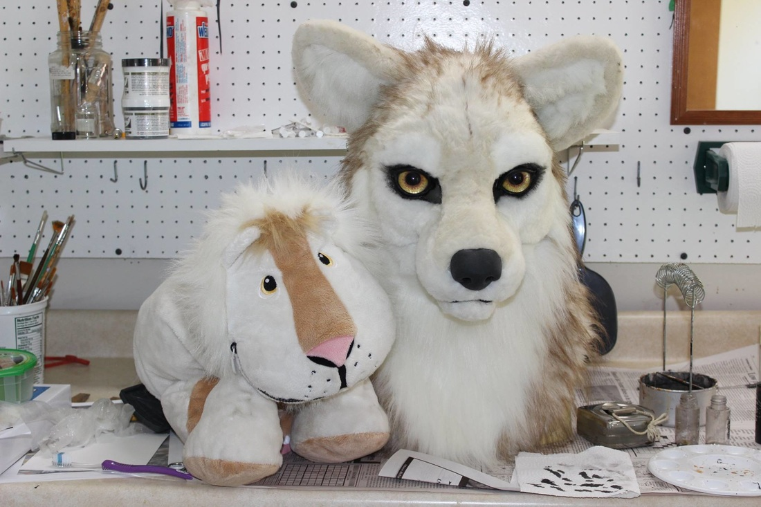 fursuit wolf head before airbrushing