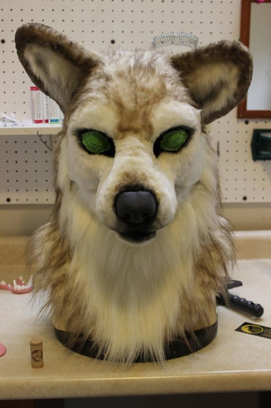fursuit wolf head partially airbrushed
