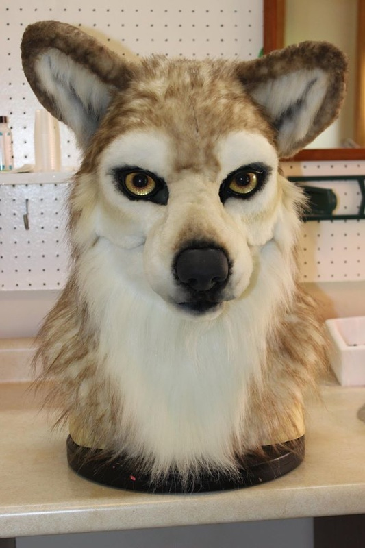 fursuit wolf head after airbrushing
