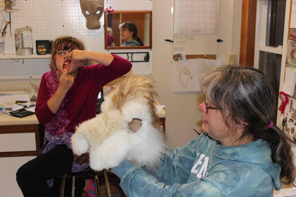 sewing together fur for fursuit wolf head