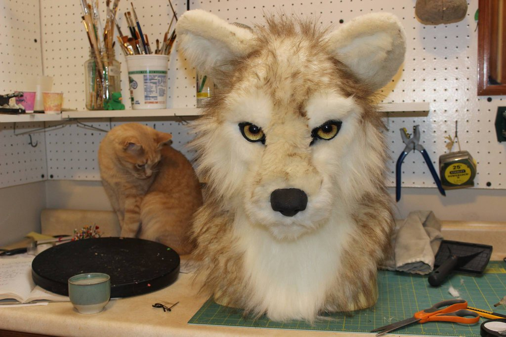 fur glued down to resin base
