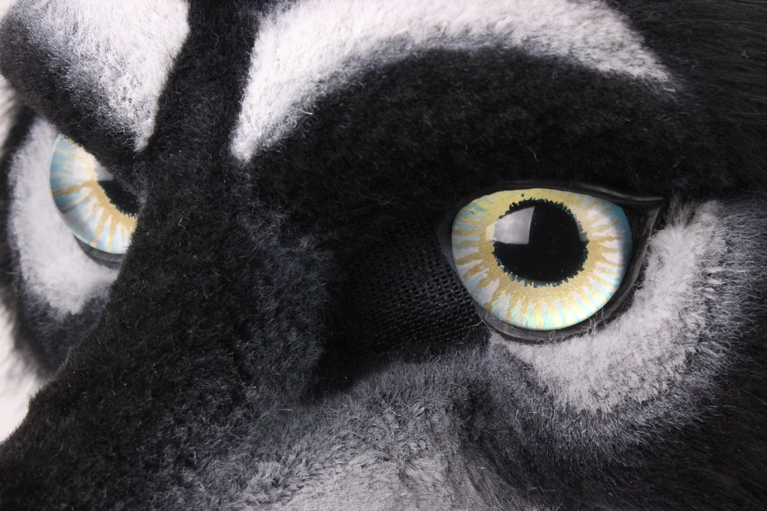 Wolf fursuit head eyes handpainted by Sans Souci Studios