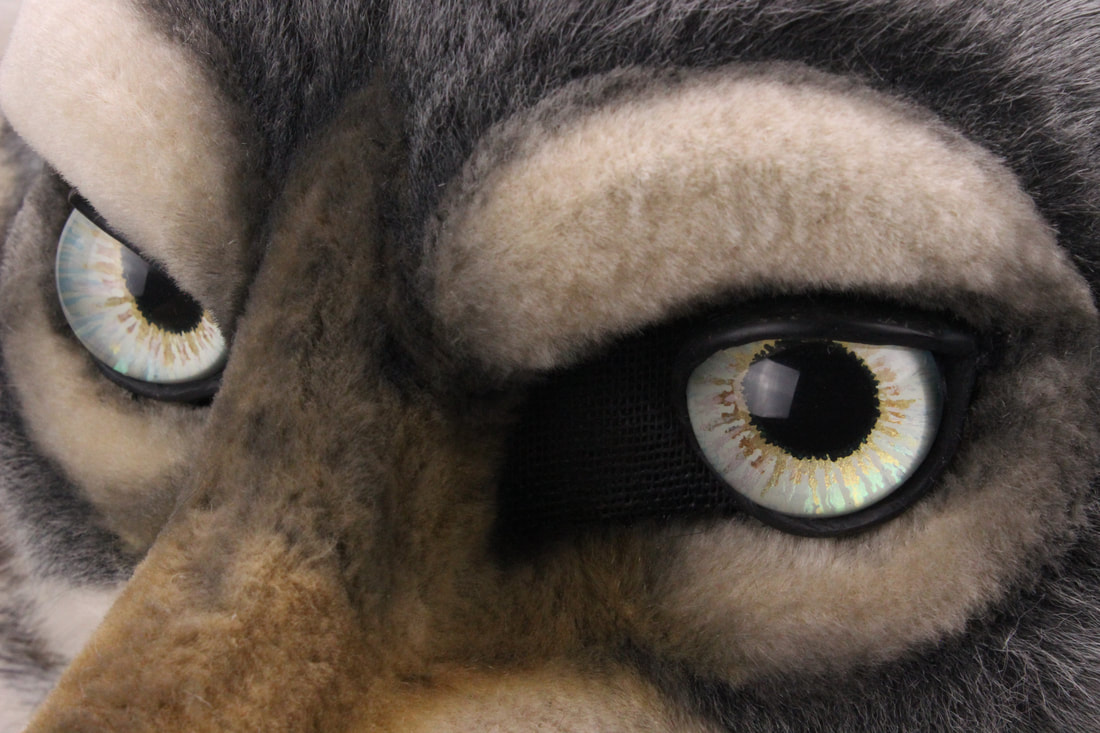handpainted fursuit wolf head eyes by Sans Souci Studios