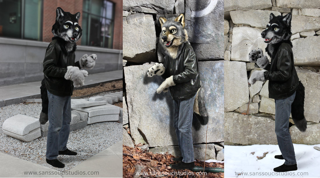 fursuit wolf partial by Sans Souci Studios out in Barre and Barre Town Vermont